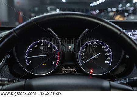 Novosibirsk, Russia - June 29, 2021: Mazda 3, Car Dashboard With White  Backlight: Odometer, Speedom