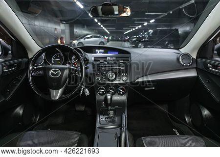 Novosibirsk, Russia - June 29, 2021: Mazda 3,  Steering Wheel, Shift Lever, Multimedia  Systeme, Dri