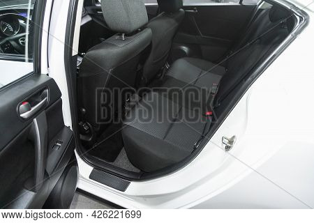 Novosibirsk, Russia - June 29, 2021: Mazda 3, Rear Seat For Passengers In Black Textile, Open Door T