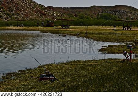 Bluffs With Brush, And Rocks, Around The Shoreline Of Lake Meredith Near Frich In The Texas Panhandl