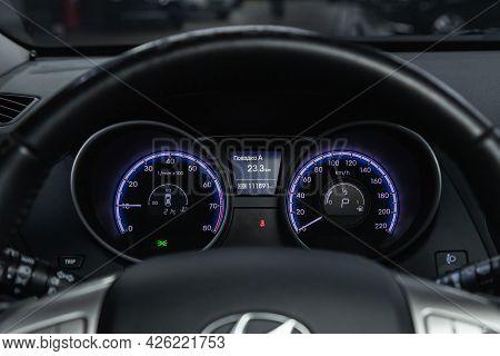 Novosibirsk, Russia - June 29, 2021: Hyundai Ix35, Car Dashboard With  Blue  Backlight: Odometer, Sp