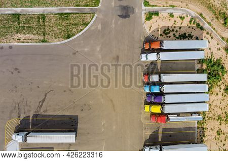 Aerial View Of Parking Lot With Trucks On Transportation Of Truck Rest Area Trailers Logistics Dock