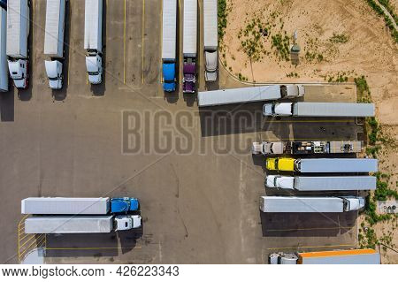 Top View Car Parking Truck Stop On Rest Area In The Highway Trucks Stand In A Row