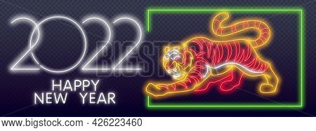 Happy New Year Of The Blue Water Tiger. Orange Neon Style On Black Background. Light Icon. Neon Tige