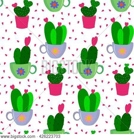 Pattern With Succulents In A Tea Mug And Pot. Vector Illustration Isolated On White Background. For