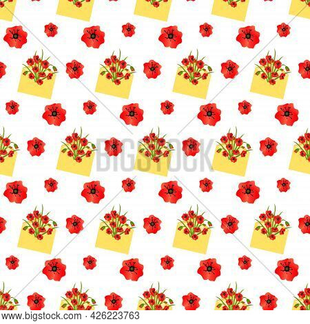 Pattern With A Yellow Envelope With A Bouquet Of Red Poppies. Vector Illustration Isolated On White
