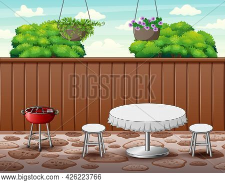 Barbecue Party Background In The Backyard Illustration