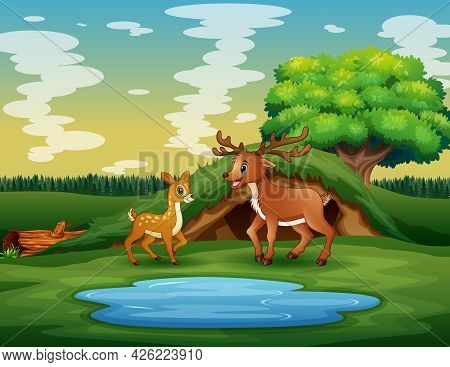 Cartoon A Mother Deer With Her Cub Playing Near The Pond