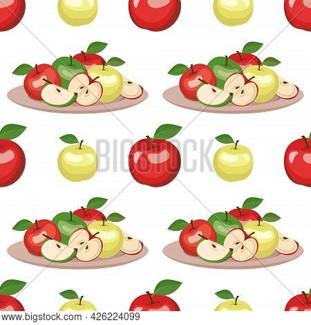Seamless Pattern With Red And Green Apples On A Plate And Leaves. Cute Summer Or Spring Whole Fruit