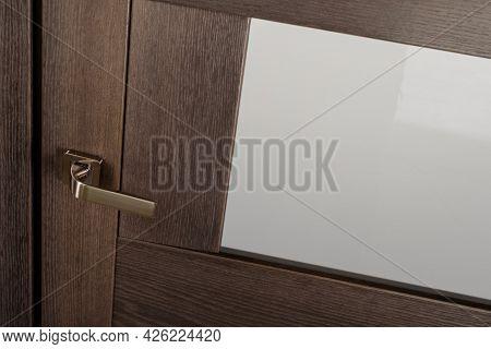 Modern Stainless Door Knob On Brown Wooden Door