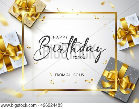 Happy Birthday Vector Banner Template. Happy Birthday To You Greeting Text In Gold Frame Empty Space