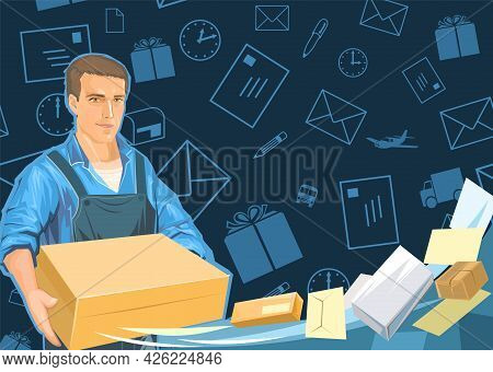Delivery Guy With A Parcel. Cardboard Box. A Male Courier In Uniform Delivered A Package. Flat Style