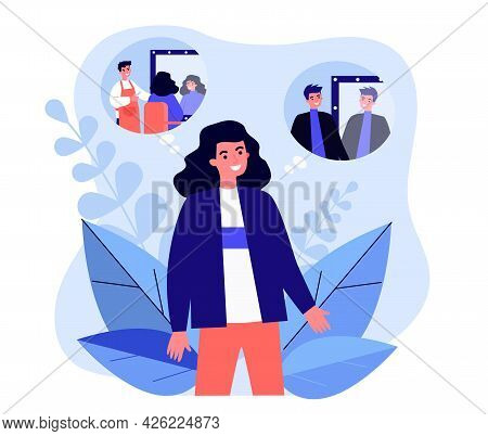 Cartoon Person With Long Hair Changing Image. Flat Vector Illustration. Man Or Woman Imagining Getti