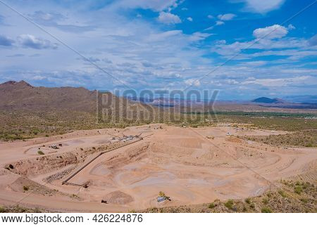 Arizona Desert Above View Quarries Mining As Mining From Above Aerial View Of Excavator In Open Cast