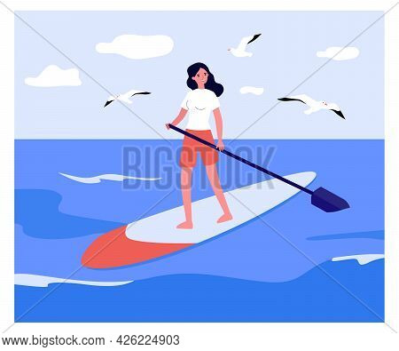 Girl Standing On Board With Paddle. Flat Vector Illustration. Young Woman Interested In Stand-up Pad