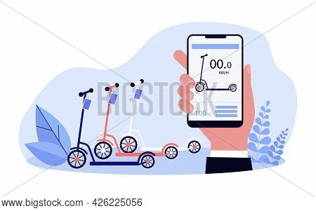 Modern Scooter Rental Service Flat Vector Illustration. Hand Holding Smartphone With Per-minute Scoo