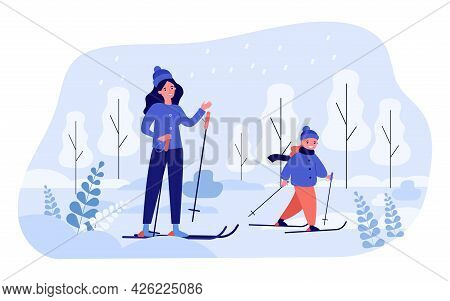 Mom And Daughter Skiing Together. Flat Vector Illustration. Woman, Little Girl In Winter Clothes Ski