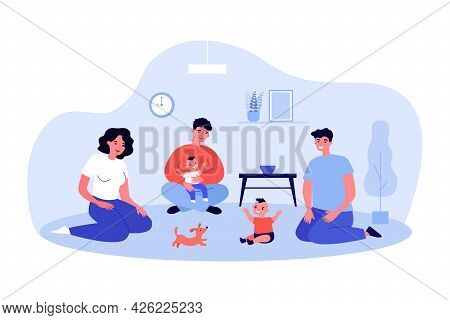 Adults Playing With Babies Sitting On Floor. Flat Vector Illustration. Young Parents, Relatives, Fri