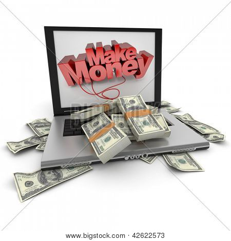 A portable computer with  make money written on the screen, with the keyboard cover in hundred dollar bills