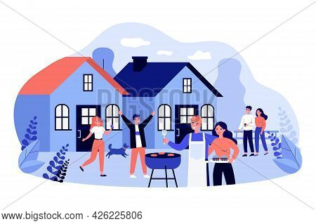 Friends Having Fun At Backyard Barbecue Party. Flat Vector Illustration. Neighbors, Young Married Co