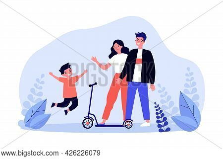 Young Mom, Dad And Happy Kid With Scooter. Flat Vector Illustration. Parents Giving Their Son Scoote
