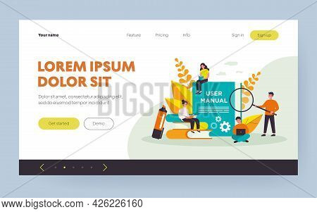 Tiny People Reading User Manual Isolated Flat Vector Illustration. Cartoon Characters Using Guideboo