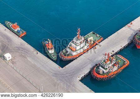 Tugs And Pilot Boats Are Moored In Jeddah Port, Saudi Arabia. Bird Eye View