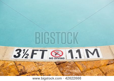 Three Half Feet Marking On Swimming Pool Depth