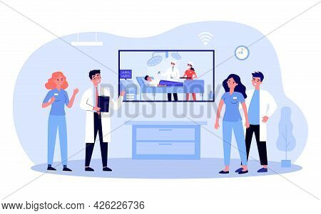Medical Staff Watching Video Of Operation. Flat Vector Illustration. Doctors And Nurses Watching Liv