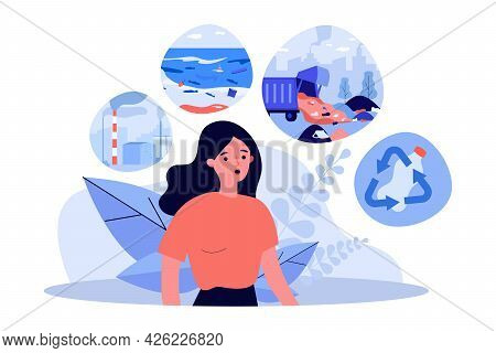 Woman Concerned About Environmental Pollution. Flat Vector Illustration. Person Thinking About Ocean
