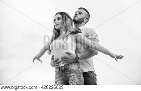 Honeymoon Trip. Valentines Day. Sexy Girl With Her Boyfriend Outdoor. Family Values. Couple In Love.