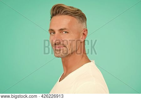 Cheerful Male Fashion Model With Trendy Hairdo And Unshaven Facial Hair Wear White Shirt And Having