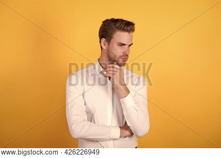 Confident Unshaven Man In White Shirt Has Groomed Hair, Male Hairdresser