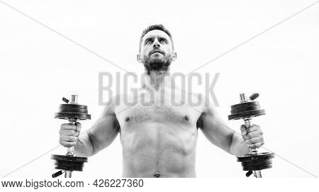 Muscular Man Exercising With Dumbbell. Dumbbell Exercise Gym. Price Of Greatness Is Responsibility.