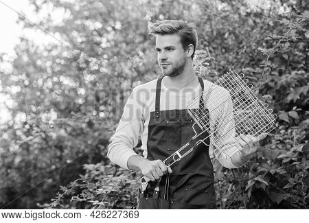 Backyard Barbeque Party. Different Methods Grilling. Man Hold Grilling Grid. Grilling Food. Tools Fo