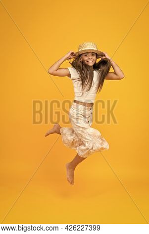 Sense Of Freedom. Carefree Childhood Happiness. Small Girl Wear Summer Outfit. Summer Vacation Fashi