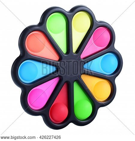 Pop It Silicone Rainbow Anti-stress Toy Isolated On White Background. Simple Dimple, Popular Modern