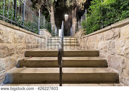 The Stairs At The Entrance To King David's Tomb In The Old City Of Jerusalem