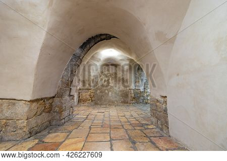 The Ancient Cave Where The Famous King David's Tomb Is Located In The Old City Of Jerusalem, At Nigh