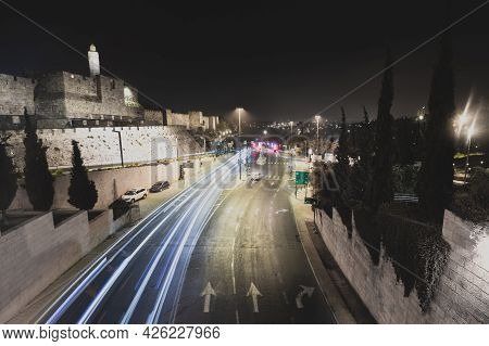 Jerusalem-israel. 28-10-2020. Long Exposure Of Vehicles On The Main Road Near The Walls Of The Old C