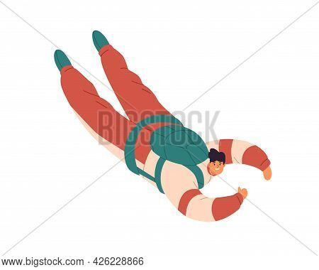 Free Fall Of Happy Man. Person Flying Down With Thumb Up During Skydiving Jump. Skydiver Floating In
