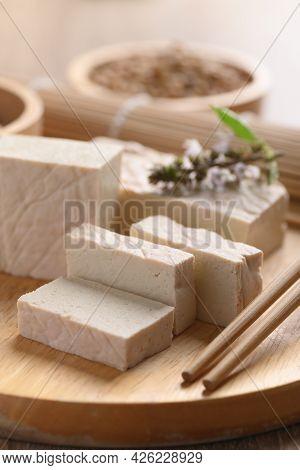 Fresh Tofu On Wooden Cutting Board, Food Ingredient In Asian Cuisine