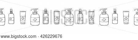 Edging, Ribbon, Border With Outline Bottles, Flacons Hand Sanitizers. Vector Seamless Pattern, Ornam
