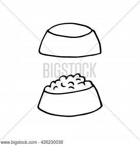 Bowl With Pet Food Icon Set. Hand Drawn Doodle. Vector, Scandinavian, Nordic, Minimalism Monochrome