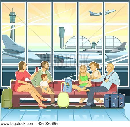 Friends at the airport. Two families with children go on a trip. Happy smiles. Terminal waiting room. Luggage, backpacks and suitcases. A window with an airplane taking off. Morning.