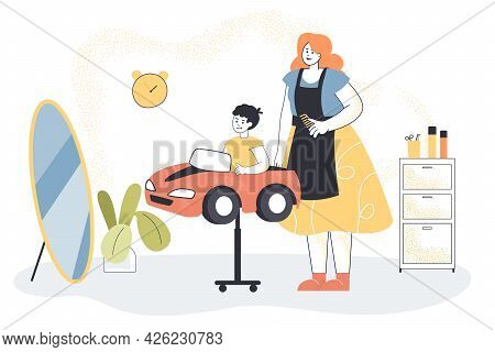 Hairdresser Making Haircut For Little Boy. Flat Vector Illustration. The Child Sitting In Car-chair