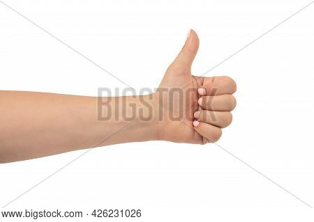 Woman's Hand With A Pink Manicure Shows A Thumbs Up Gesture, Isolated On A White Background. Mid Adu