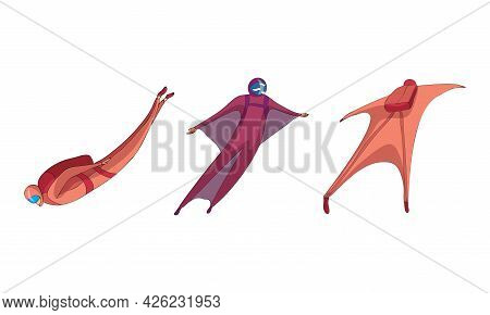 Paratroopers Or Parachutist Free-falling And Descenting With Parachutes Vector Set