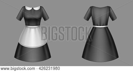Maid Uniform, Black Housemaid Dress With White Collar And Apron Front And Rear View. Housekeeping Se