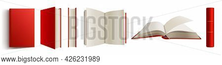 Book With Red Spine And Cover 3d Mockup, Blank Closed And Open Volume With Hardcover And Golden Deco